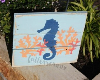 seahorse wooden sign