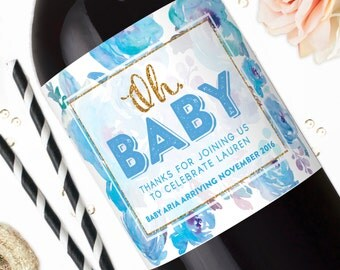 Oh Baby Wine Labels - Baby Shower Champagne Labels - Mini Champagne - Custom Label Stickers - Printable Baby Shower Favor Decorations