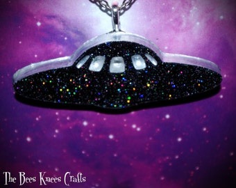 Black Cosmic Galaxy Sparkle Intergalactic UFO Hand Made Necklace