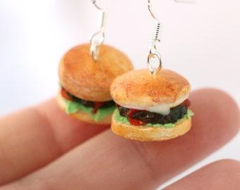 Burger earrings, miniature hamburger jewelry, junk food dollhouse earrings, miniature food jewelry
