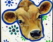 JERSEY COW Portrait - Hand painted - Original- Signed