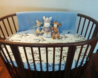 Custom made oval crib sheet - fits Stokke Sleepi crib - Stokke sheets - oval fitted sheet - stokke fitted sheet