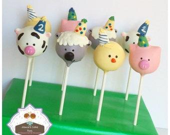 Birthday Farm Animal Cake Pops
