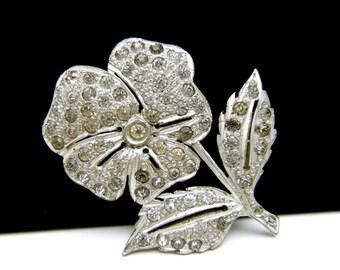Art Deco Rhinestone Flower Brooch Pot Metal Finely Cast