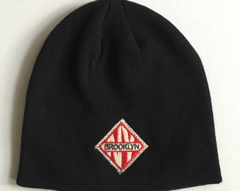 Brooklyn  NY Embroidered Organic Cotton Beanie Hat black