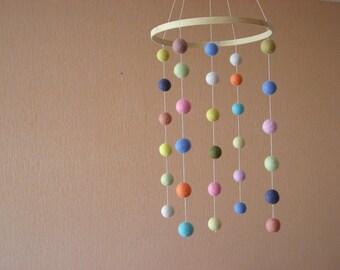 FELT BALLS Mobile / Handmade Nursery Mobile / Eco Friendly Natural/ pastel