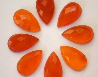 10 Pieces Finest Quality Lot Carnelian Pear Shape Checker Cut Gemstone