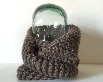 Light Brown Speckled Wool Blend Hand Knit Infinity Scarf