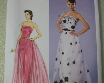 Butterick B6353 Misses A5 6-8-10-12-14 and E5 14-16-18-20-22 gown with detachable train and belt
