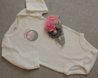 Baby Girl Golf Outfit. Daddy's Little Caddy. Embroidered Golf Ball. Newborn Girl Golf Bodysuit. Headband Loaded with Flowers
