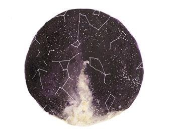 Fine Art Print Watercolor Star Chart Print Constellations Night Sky Painting Purple June