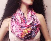 ON SALE.......... Infinity Scarf  Colorful  Ruffled Knit