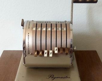Vintage 1960s Paymaster X-550 seven column check writer, industrial checkwriter, vintage office, Paymaster corp Chicago, check printer