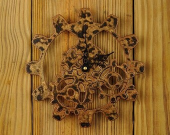 Industrial Gear Wall Clock - Steampunk  Clock - Mottled Bronze Finish.