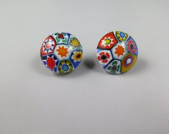 Beautifu Hand Painted Faux Micro Mosaic Clip Earrings