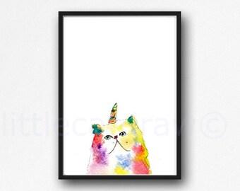 Cat Print Kitticorn Peeking Unicorn Cat Watercolor Painting Persian Cat Print Caticorn Colorful Cat Wall Art