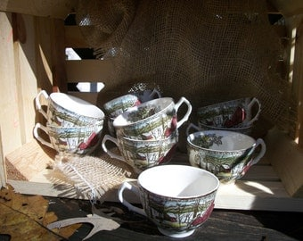 Set of Ten 1940's Johnson Brothers Ironstone Tea Cups With Countryside Winter Scene