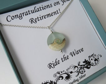 Retirement Gift for Women, ocean necklace, Ride the Wave, retirement necklace, sterling silver, beach jewelry, beach gift, wave necklace,mhd