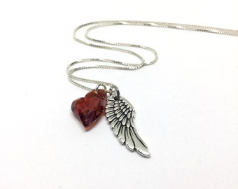Wing Necklace Sterling Silver Angel Necklace, Heart Winged Necklace, Angel Wing Pendant, Swarovski Crystal Charm Heart and Wing Necklace