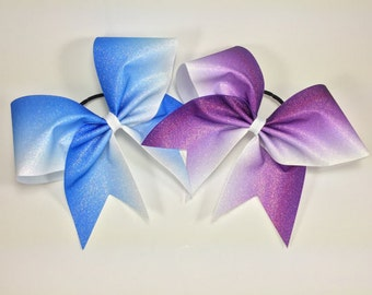 13 bright fuchsia ombre bows with names in bright pink
