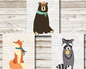 Woodland Animals Printable Set Nursery Wall Art Woodland Print Playroom Decor 8x10 Bear Fox Raccoon Photography Prop