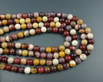 natural mookaite jasper beads, red, yellow mookaite beads, round natural gemstone beads, 8mm 15'' full strand