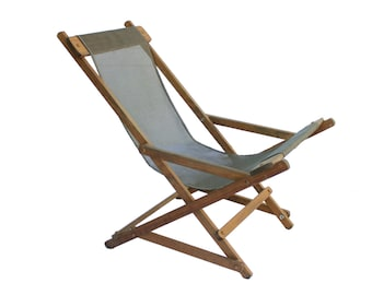Vintage Rocking Wood Frame American Deck Beach Chair