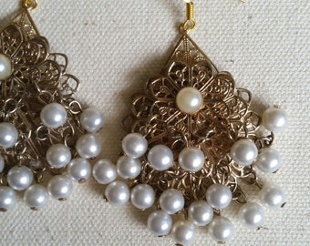 SALE* Repurposed /Upcycled Vintage 1950's / 1960's Filigree Pearl Dangle Earrings,pearl,jewelry,earrings,dangle,drop - Eco Chic Earring.