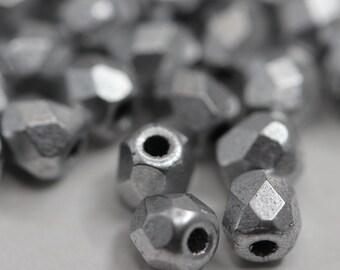 Fire Polish 3mm - Aluminium Silver 1700: 50 pcs