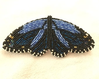 """Beaded """"Monarch At Rest"""" Barrette in ice blue and cobalt (no fringe)"""