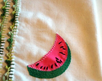 Vintage Kitchen Towel with Watermelon Embroidery