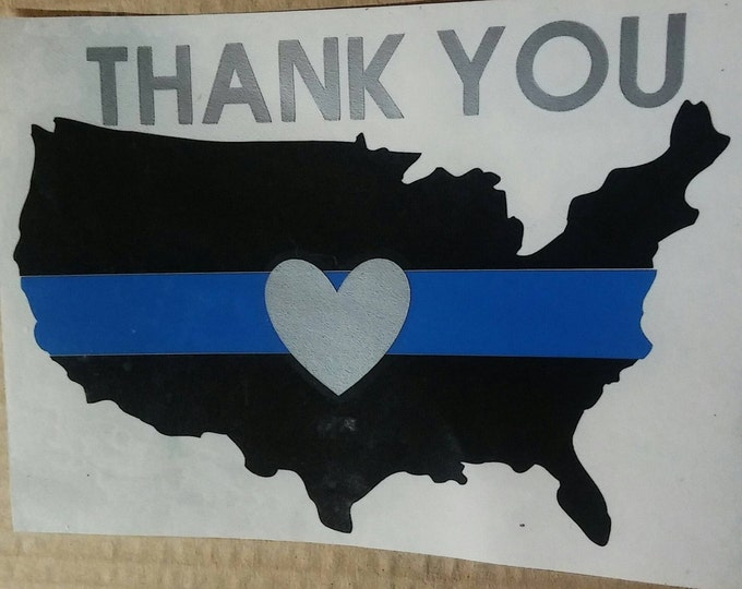Thank You United States Thin Blue Line Vinyl Decal