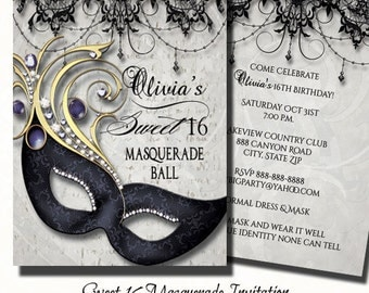 Sweet Sixteen Masquerade Party Invitation   Masquerade Invite  Sweet Sixteen Invitation  Printed Invite or Digital Printable
