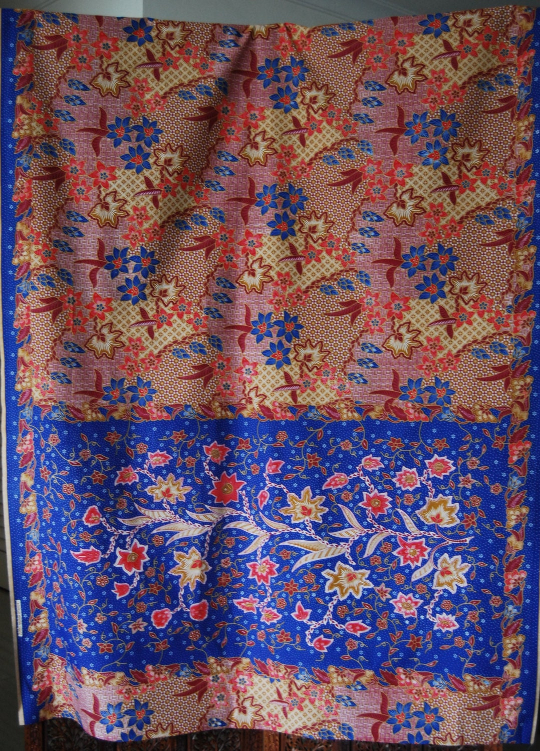 malaysian batik fabric blue and red from missiines on etsy studio. Black Bedroom Furniture Sets. Home Design Ideas