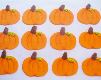 12 PUMPKINS Edible Fondant Cupcake Toppers