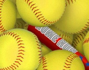 Sports--softball fabric--by the yard--Elizabeth's Studio