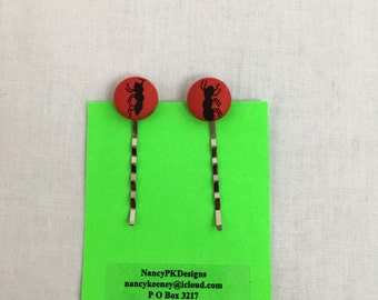 Ants on Red Cover Button Bobby Pins, Hair Pins, Clips
