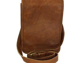 Plain Small Vintage Handmade Genuine Brown Leather Handbag