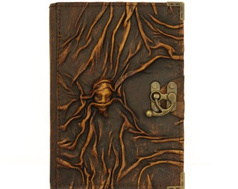 Scarfed Woman Embossed Brown Large Leather Handmade Journal Diary Notebook Plain Paper Book