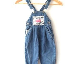 Vintage  Osh Kosh B'Gosh Girls Denim Lace Heart overalls