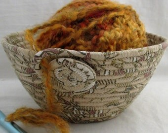 Handmade Fabric Wrapped Clothesline, Coiled and Machine Stitched into a Knitting, Crochet, Yarn Bowl, Portable Craft Container (KB1493)