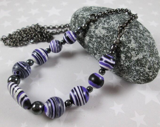 Striped Howlite Necklace - Purple Black White Stripes - Medium