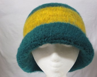 Hat Wool Felted Green with Gold/Tan Mix and Half Rolled Brim