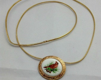 """Avon Vintage Cardinal Bird Pin/Pendant called """"Crimson Crest The Cardinal""""-Vintage Avon Jewelry - Mother's Day Gift - Mother's Day - Mom"""
