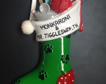 Cat Personalized Christmas Ornaments / Cat Stocking Ornament / Gifts for Cats