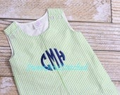 Monogrammed Boys Easter outfit, Monogrammed Seersucker outfit, baby boy jon jon monogrammed, seersucker romper, monogram seersucker bubble