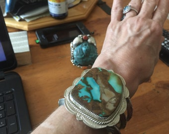 180g - Large IMPRESSIVE Boulder Turquoise SS Cuff - Signed SHELLBONE