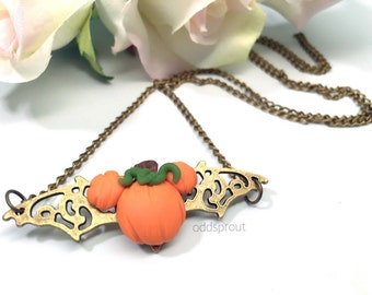 Pumpkin Bat Necklace | Halloween Necklace