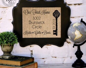 Realtor Closing Gift, Our First Home, Vintage Key, Personalized Address, Gift from Realtor, Closing Gifts, Address Signs, Skeleton Key