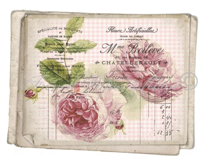 Digital rose paper, Shabby Cottage Roses, Heirloom Roses, Instant Digital Download, French Rose Transfer, French Pillow Image